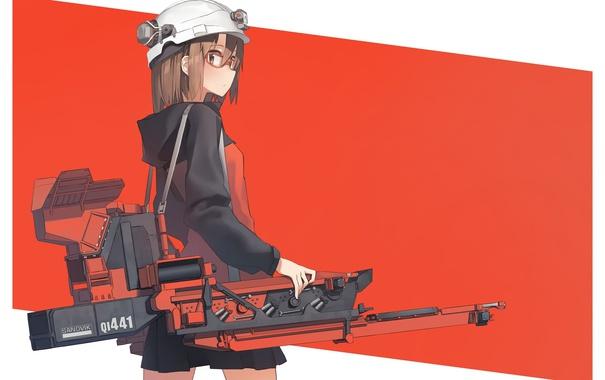 Фото обои девушка, оружие, аниме, арт, очки, каска, astg