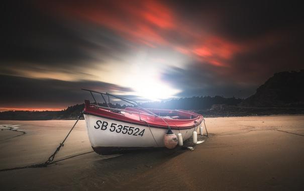 Фото обои ночь, берег, лодка