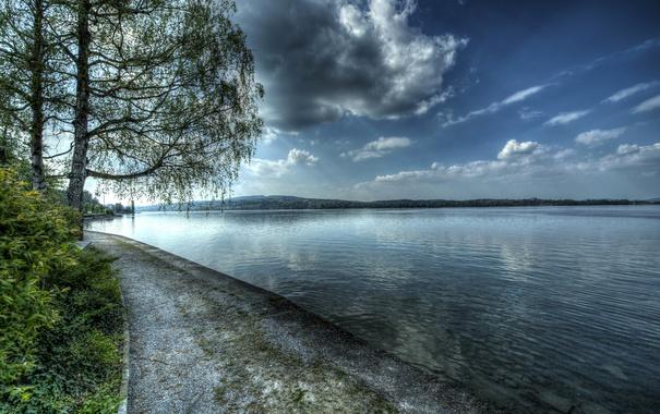 Фото обои Berlingen, Швейцария, озеро, hdr, деревья, набережная, облака