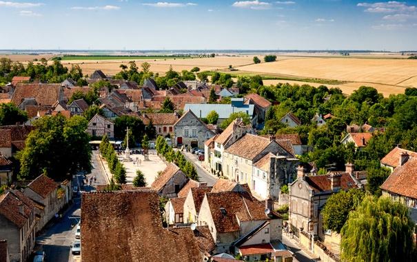 Фото обои пейзаж, Франция, поля, дома, городок, Provins, Провен