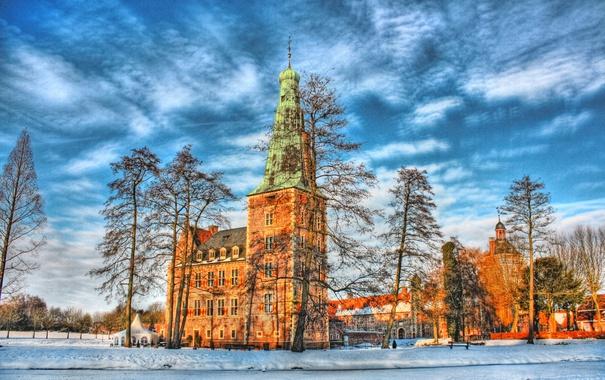 Фото обои зима, небо, облака, снег, деревья, замок, Германия