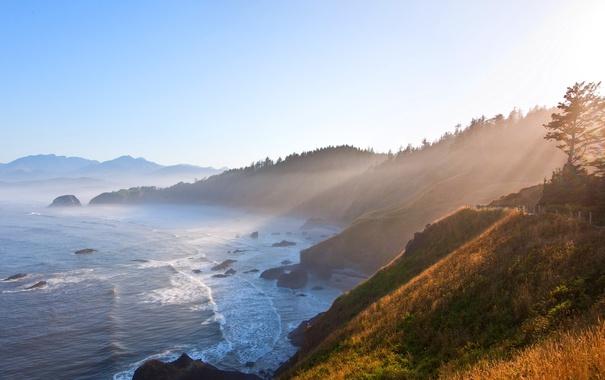 Фото обои море, восход, побережье, утро