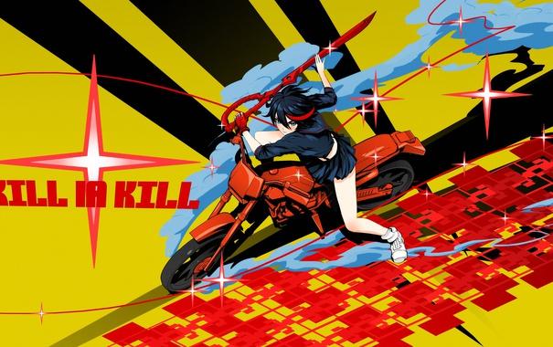 Фото обои девушка, меч, мотоцикл, anime, Matoi Ryuuko, Kill La Kill