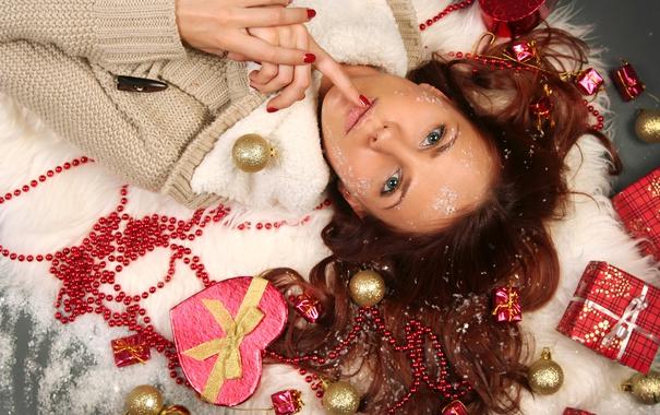 Фото обои девушка, украшения, праздник, подарок, Новый Год, Рождество, Christmas