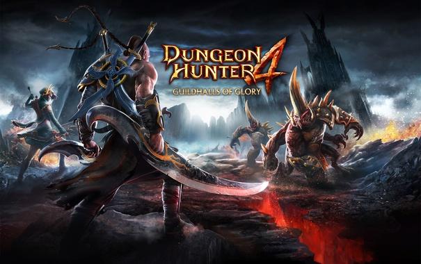 Фото обои Dungeon Hunter 4, скалы, трещина, воин, горы, башни, оружие