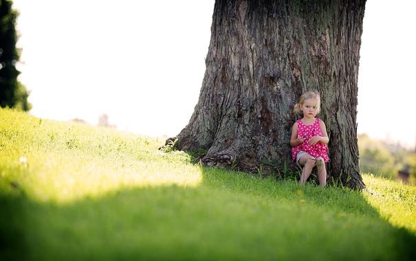Фото обои дерево, настроение, девочка