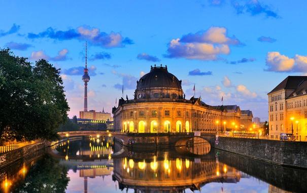 Фото обои мост, огни, река, башня, дома, вечер, Германия