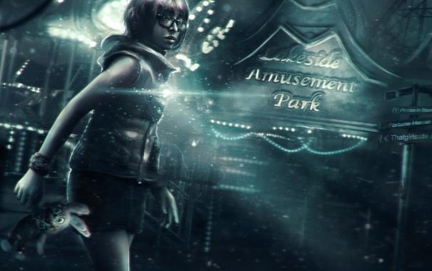 Фото обои девушка, фонарь, rabbit, Silent Hill