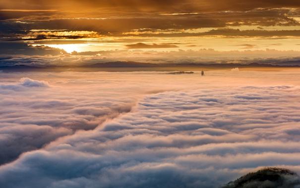 Фото обои небо, закат, туман