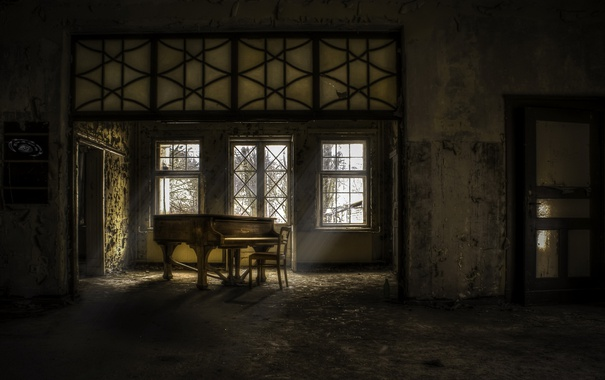 Фото обои музыка, комната, пианино