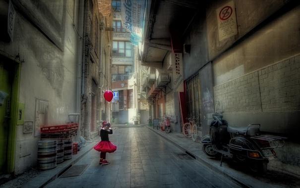 Фото обои настроение, улица, шар, девочка