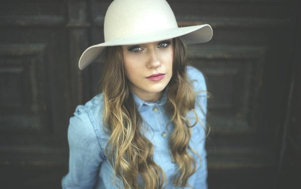 Фото обои девушка, шляпа, локоны