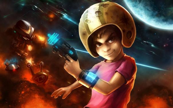 Фото обои звезды, взрыв, оружие, фантастика, планета, улитка, мальчик
