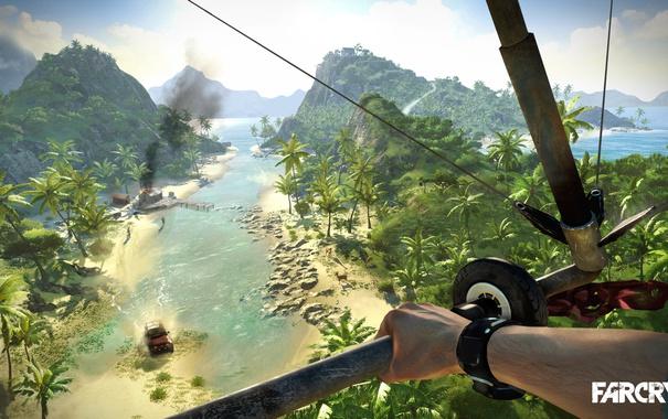 Фото обои море, трава, пальмы, остров, game, Far cry
