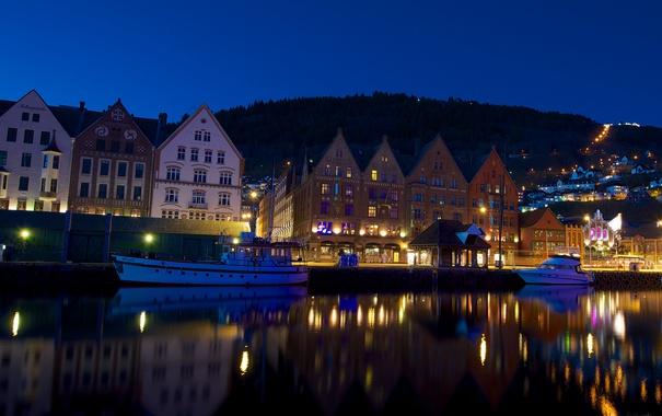 Фото обои море, город, ночные огни, яхта, порт, катер