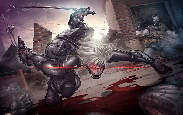 Фото обои ярость, art, patrick brown, Raiden, Metal Gear Rising, Katana, Jack the Ripper