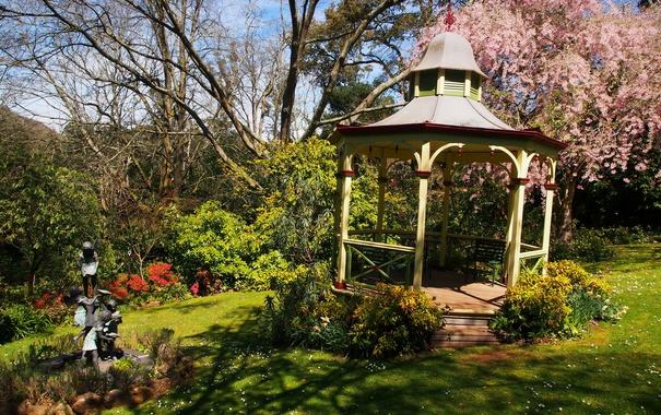Фото обои трава, деревья, цветы, сад, Австралия, скульптура, беседка