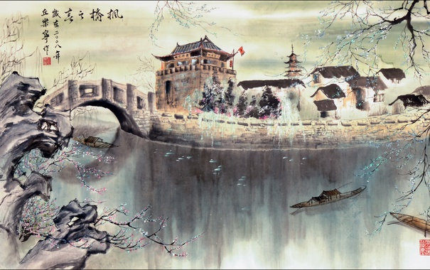 Фото обои Китай, пейзаж, арт