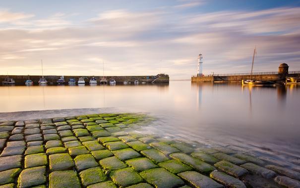 Фото обои море, маяк, бухта, катера, Scotland, волнорезы, Newhaven