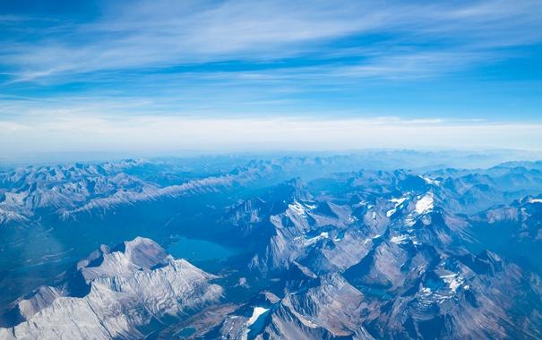 Фото обои небо, облака, снег, горы, озеро, вершины, гряда
