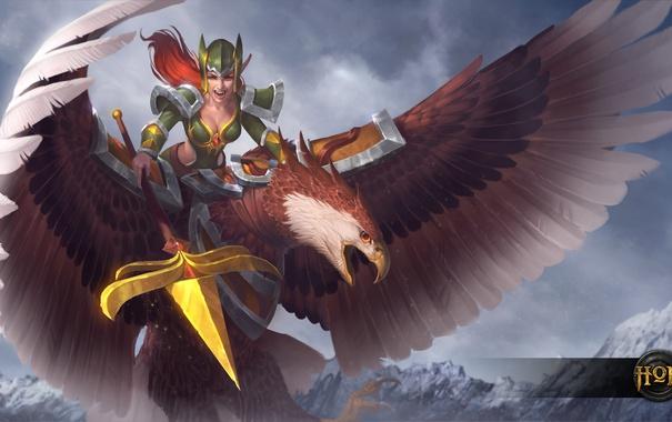 Фото обои девушка, орел, копье, heroes of newerth, Eagle Rider, Plague Rider