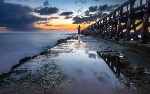 Фото обои море, закат, мост