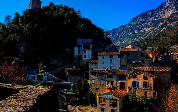 Фото обои пейзаж, горы, Франция, дома, Roquesteron