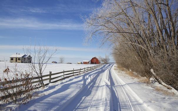 Фото обои зима, дорога, снег, деревья, дом, забор, Канада