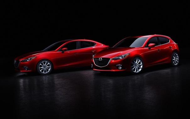 Фото обои черный фон, седан, красная, Mazda 3, мазда, Sedan