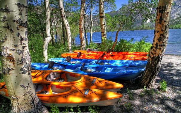 Фото обои деревья, горы, озеро, лодки