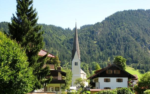 Фото обои лес, деревья, горы, дома, Германия, Бавария, Альпы