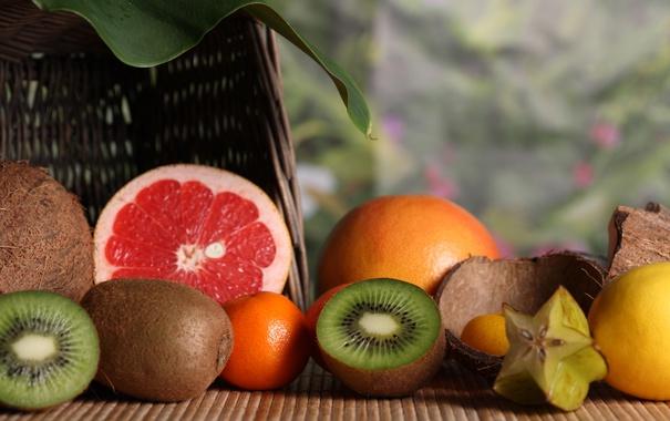 Фото обои лимон, кокос, киви, фрукты, грейпфрут