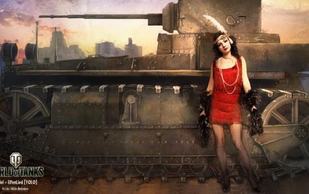 Фото обои девушка, танк, girl, танки, WoT, Мир танков, tank