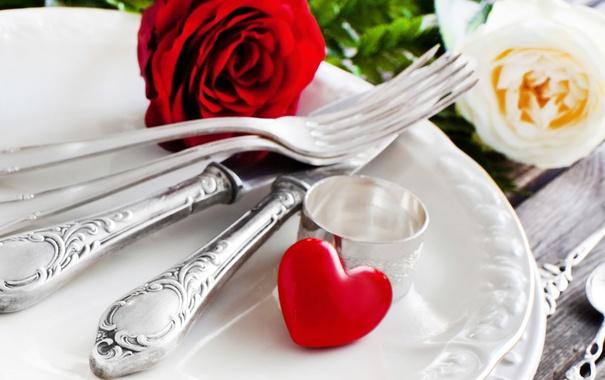 Фото обои цветы, роза, розы, сердца, красная роза
