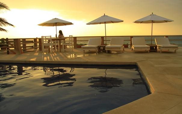 Фото обои девушка, закат, вечер, бассейн, терраса