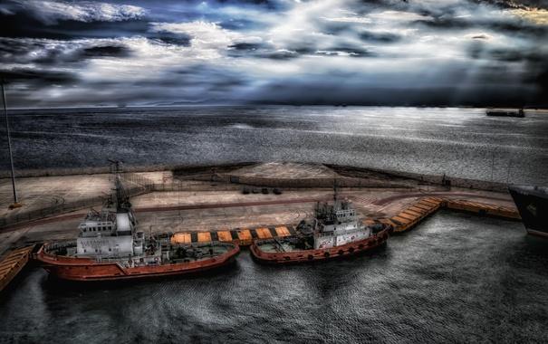 Фото обои ночь, корабли, порт