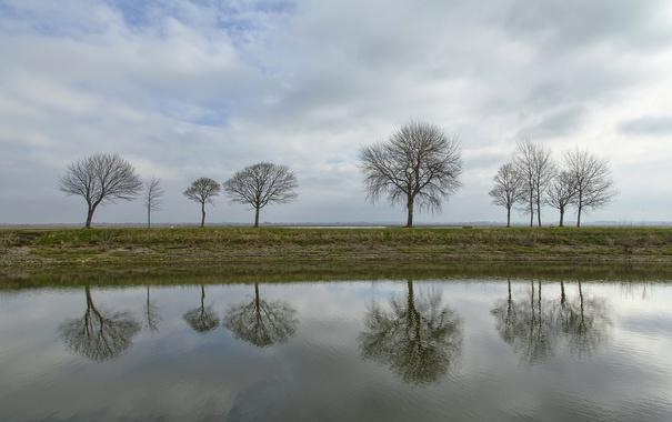 Фото обои осень, небо, облака, деревья, озеро, пруд, отражение