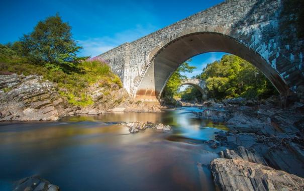 Фото обои Oykel Bridge, арка, Шотландия, река, мост, деревья, небо