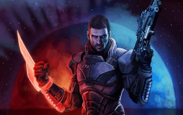Фото обои взгляд, оружие, игра, арт, броня, John Shepard, Mass Effect
