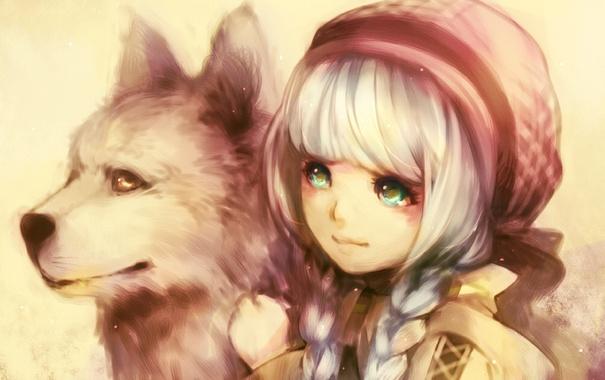 Фото обои волк, сказка, Красная Шапочка, Aoshiki