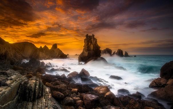 Фото обои море, природа, камни, скалы, зарево, Испания, Кантабрия