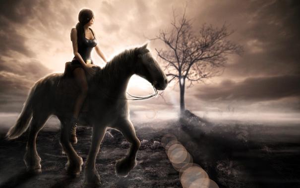 Фото обои tomb raider, облака, лошадь, небо, девушка, дерево, lara croft