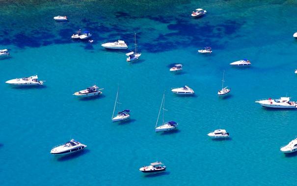 Фото обои море, бухта, яхты, лодки, залив