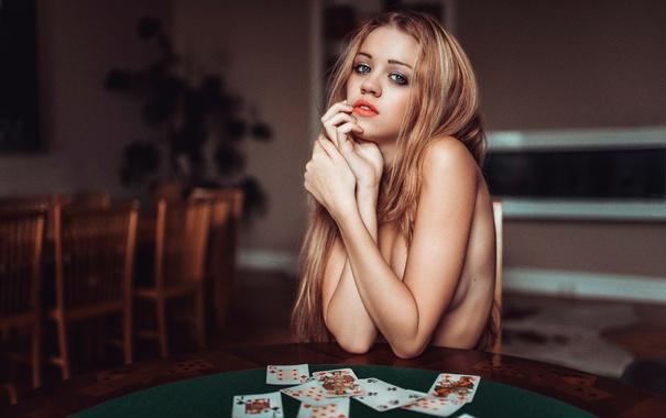 Фото обои карты, девушка, столик