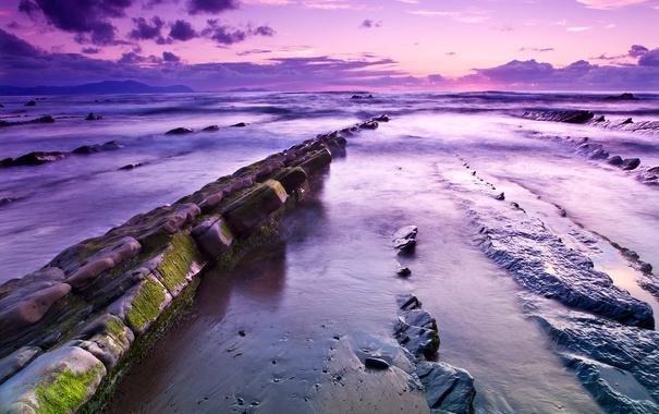 Фото обои море, небо, облака, камни, берег, вечер, отлив