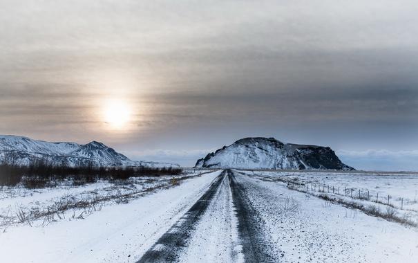 Фото обои дорога, Исландия, зима