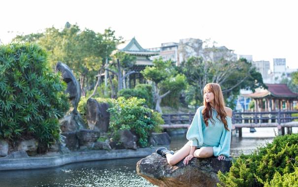 Фото обои лето, девушка, пейзаж
