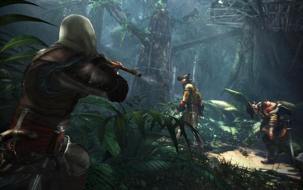 Фото обои лес, деревья, пират, солдаты, Assassins Creed, ассассин, Эдвард Кенуэй
