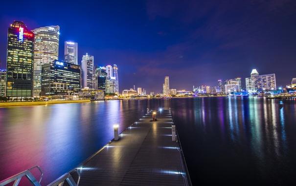 Фото обои ночь, город, пирс, Сингапур, иллюминация, Singapore