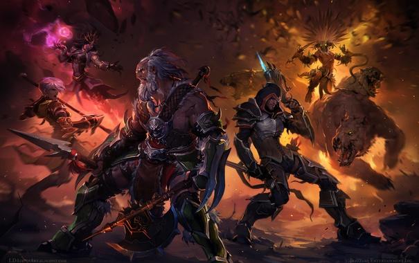 Фото обои герои, схватка, Diablo